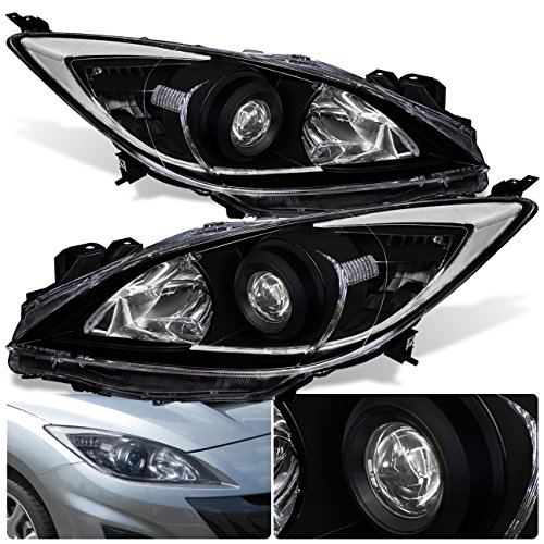 (For Mazda 3 Sedan Hatchback Front Bumper Projector Headlight Head Lamp Black Housing Clear Lens Reflector Upgrade Assembly Pair Left Right)