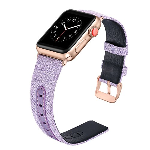 (Secbolt Compatible Apple Watch Band 42mm 44mm for Women, Canvas Fabric Bands with Genuine Leather Strap iWatch Nike+,Series 4, Series 3, Series 2, Series 1, Sport, Edition(Lavender, 42/44mm))