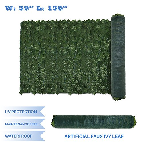 E&K Sunrise 39″ x 136″ Faux Ivy Privacy Fence Screen with Mesh Back-Artificial Leaf Vine Hedge Outdoor Decor-Garden Backyard Decoration Panels Fence Cover – Set of 1