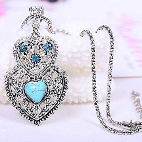 Pendant Necklace Double Heart Inlay Hollow For Women Necklace Chain Jewelry