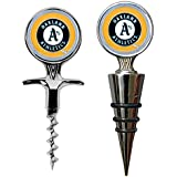 MLB Oakland Athletics Cork Screw and Wine Bottle Topper Set