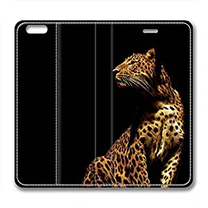 iCustomonline A Beautiful Leopard Personalized Custom Back Leather Case for iPhone 6 (4.7 inch)