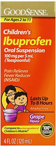 Good Sense Children's Ibuprofen Pain Reliever/Fever Reducer Oral Suspension, Grape, 4 Fluid Ounce - Good Sense Ibuprofen
