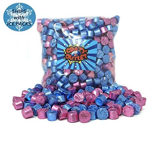 Gender Reveal Rolo Caramel Milk Chocolate Candy - Light Blue & Pink Foils Mix, 2 Lbs