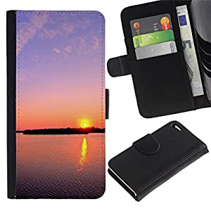 KingStore / Leather Etui en cuir / Apple Iphone 4 / 4S / Sunset Beautiful Nature 112