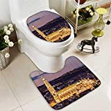 Muyindo 2 Piece Anti-slip mat set Dusk as the Flood Lights are Illuminated Cathedral in Ancient City Of Toledo Spain Prin Anti-slip Water Absorption