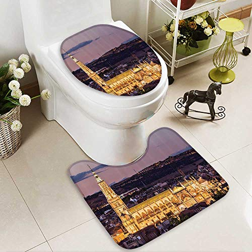 Muyindo 2 Piece Anti-slip mat set Dusk as the Flood Lights are Illuminated Cathedral in Ancient City Of Toledo Spain Prin Anti-slip Water Absorption by Muyindo