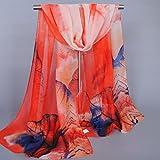 Shawl, New Lady Long Soft Wrap Silk Chiffon Scarf Scarves (Watermelon Red)