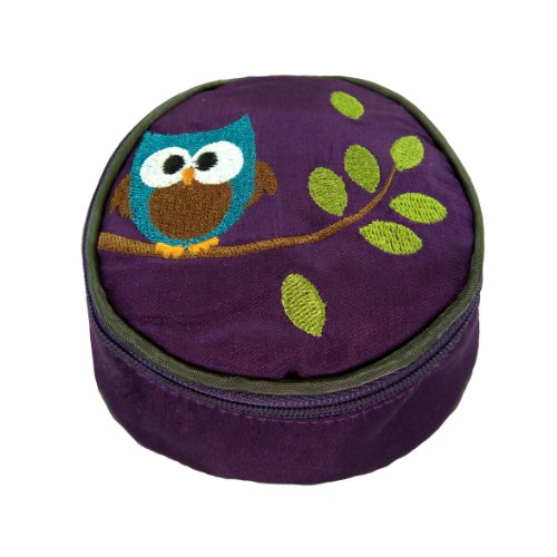 Travel Jewelry Case - Embroidered Owl (Plum Purple)
