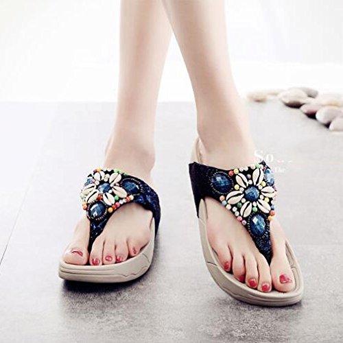 Womens Sandals Slippers Thick Sole Flip-flops Summer Seaside Non-slip Beach Sandals Blue wkgWd1