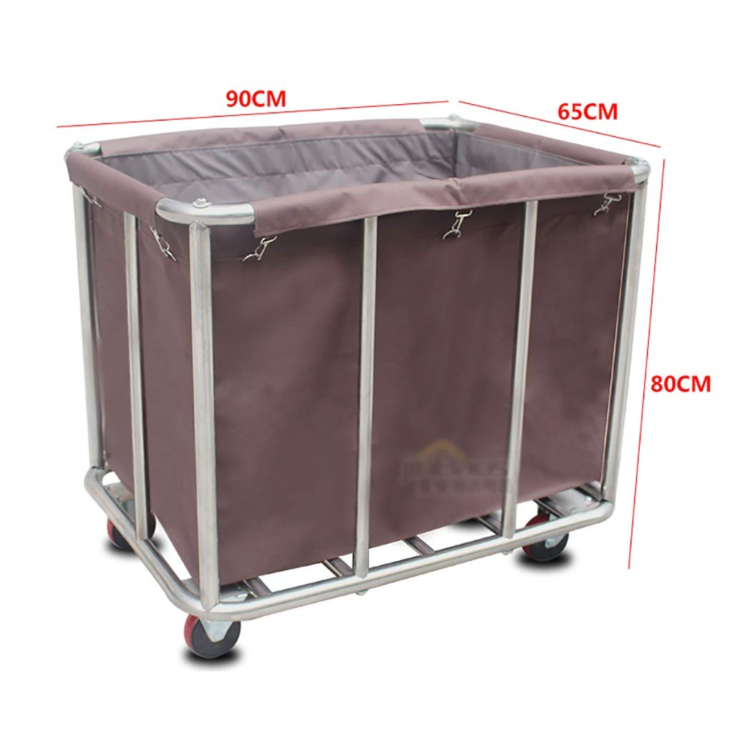 Hotel Cart, Stainless Steel Thick Linen car Hotel Hotel Room Cleaning Hand Push Work car (Color : B)