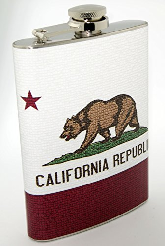 CaliforniaUS State Flag Design 8oz Stainless Hip Flask F011015-0043 (Flask Hip Design)