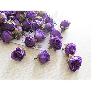 XGM GOU 100Pcs/Pack Solid Colors Small Tea Rose Heads Wholesale Cream Flower Buds Artificial Silk Flowers DIY Bouquets Home Decoration 3