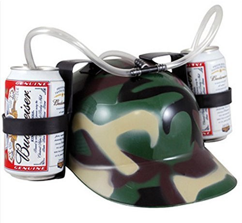 [Novelties Beer Soda Guzzler Helmet Drinking Camo Party Hat Drinking Helmet Camouflage by PurFits] (Beer Drinking Hat)
