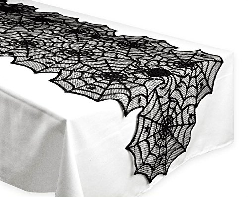 Partypeople Halloween Lace Table Runner 18''x 72'' Black Spiderweb Fabric Tablecover Home Decoration for Halloween Parties ()