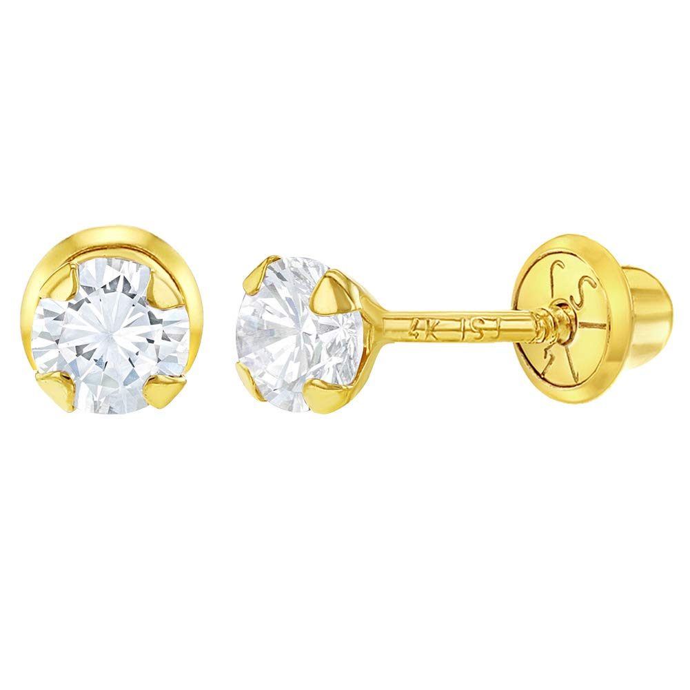 14k Yellow Gold CZ Prong Set Solitaire Screw Back Earrings Toddlers Girls 3mm In Season Jewelry YG-03-P0019