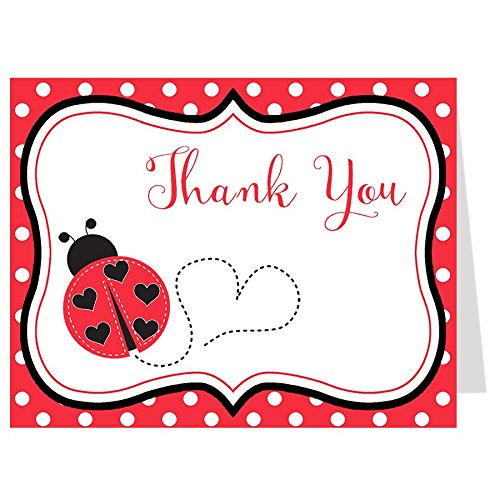 Folding Note (Ladybug Baby Shower, Lady Bug Sprinkle, Birthday Thank You Cards, Red, Black, Polka Dots, 50 Folding Notes with Envelopes,)