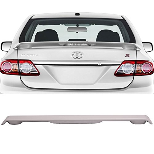(Pre-painted Trunk Spoiler Fits 2009-2013 Toyota Corolla | ABS Painted Super White #040 With LED Light Boot Lip Rear Spoiler Wing Deck Lid Other Color Available By IKON MOTORSPORTS | 2010 2011)