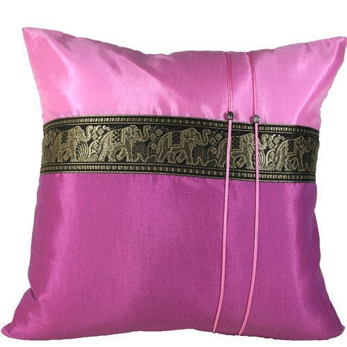 Copter Throw Cushion Cover /pillow Elephant Middle Textile Design Handmade By Thai Silk Size 16x16 Inches (Pink with dark pink)