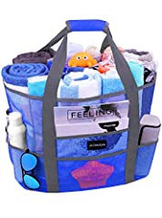 """Aomais Beach Bag :              16""""L x 14.5""""H x 8.5""""W       Carry everything you need for a day at the beach or pool in this waterproof beach bag       8 extra pockets to hold sunblock, water, flip flops, glasses and more     ..."""