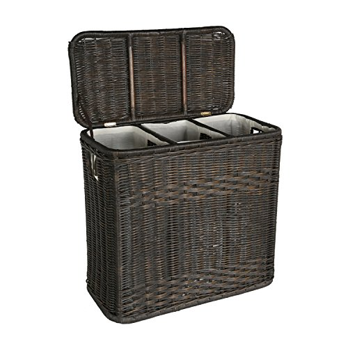 The Basket Lady 3-Compartment Wicker Laundry Hamper | Clothes Hamper, Antique Walnut Brown