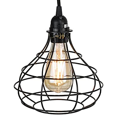 Industrial Cage Pendant Light with 15' Toggle Switch Black Fabric Plug-in Cord and Edison Bulb Included