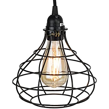 Industrial Cage Pendant Light With 15u0027 Toggle Switch Black Fabric Plug In  Cord And Ideas