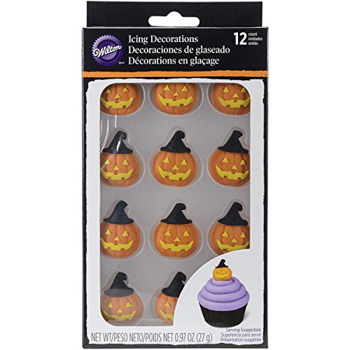 Wilton 710-2122 Pumpkin with Witch Hat Royal Icing Decoration, Assorted (Wilton Cupcake Toppers Halloween)