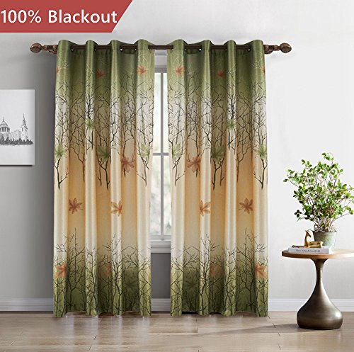 FirstHomer Room Darkening Maple Leaf Polyester Print Thermal Insulated Blackout Lined Grommet Curtain/Drapes for Bedroom,100W By 84L,One Panel For Sale
