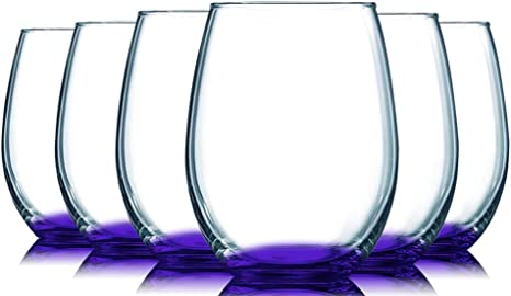 Amazon Com Purple Bottom Accent 21 Oz Stemless Wine Glasses Set Of 6 By Tabletop King Additional Vibrant Colors Available Wine Glasses