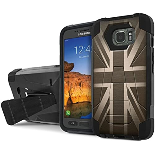 AT&T [Galaxy S7 Active] Combat Case [SlickCandy] [Black/Black] Armor Shell & Impact Resistant [Kick Stand] [Shock Proof] Phone Case - [British Flag] for Samsung Sales