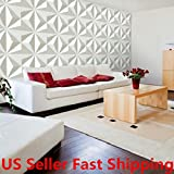 White 12Pcs 3D Diamond Pattern Paintable Wall Panel Covering Home Decal Decor 32sqft PVC