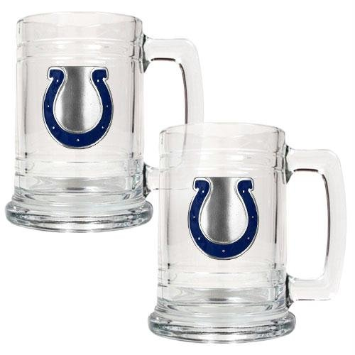 - NFL Indianapolis Colts Two Piece 15-Ounce Glass Tankard Set - Primary Logo
