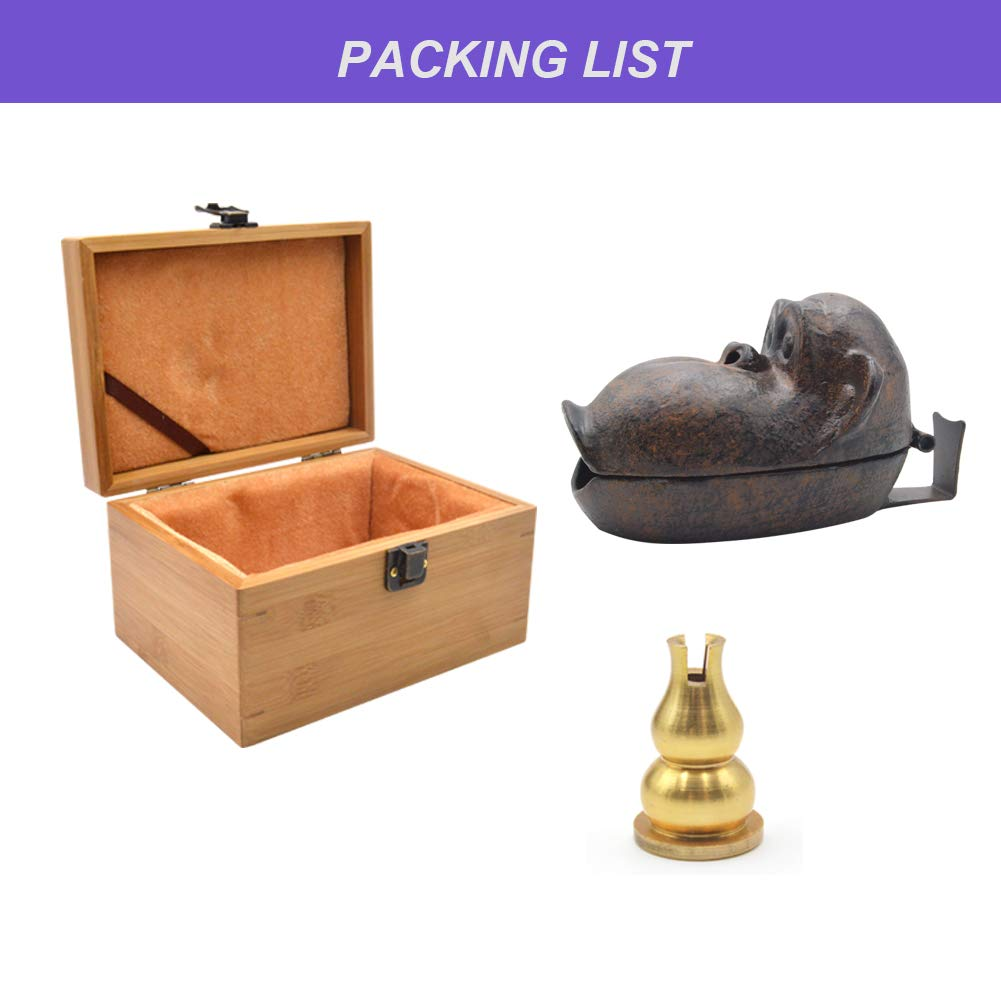 Yimi Ashtray - Cigar Ashtray for Patio Outdoor and Indoor Tabletop Office Decoration Cast Iron Monkey Statue with Bamboo Gift Box (Big Monkey) by Yimi (Image #7)
