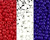 Red, White & Blue Miyuki Seed Bead Mix, Size 8/0, Opaque White, Opaque Red, Opaque Blue (3 X 22 Gram Tubes)