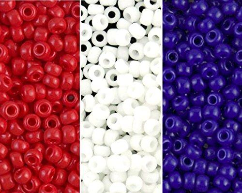 Blue Seed Bead - Red, White & Blue Miyuki Seed Bead Mix, Size 8/0, Opaque White, Opaque Red, Opaque Blue (3 X 22 Gram Tubes)