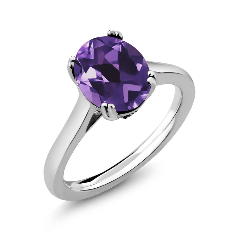 2.53 Ct Oval Purple Amethyst Black Diamond 925 Sterling Silver Solitaire Ring (Size 7)