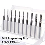 10Pcs Carbide End Mill Engraving Bits for CNC PCB Rotary Burrs 1.3mm to 3.175mm