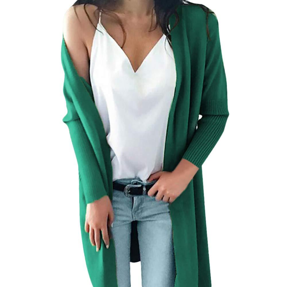 Seaintheson Women's Coats SWEATER レディース B07HKHJDKQ Large|グリーン グリーン Large