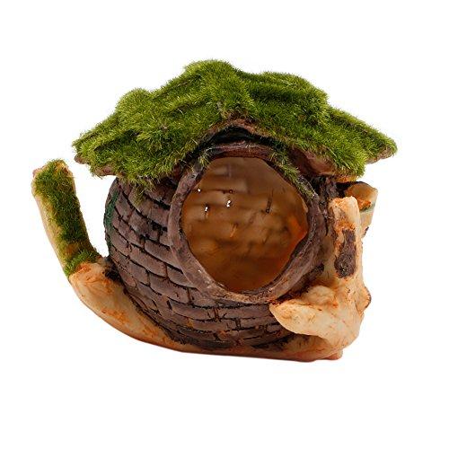 Resin Antique Ships Wheel (Delight eShop Aquarium Fish Tank Ornament Decor Broken Resin Fish Hide Moss House Landscape)
