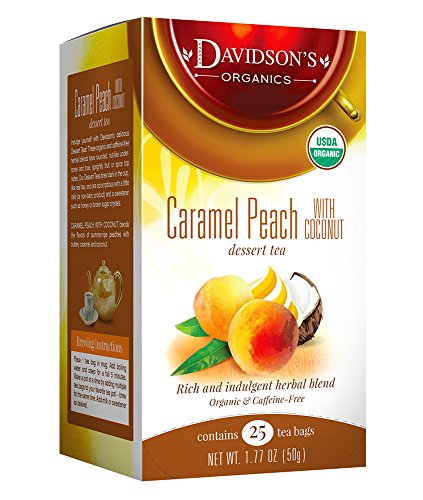 Davidson's Tea Caramel Peach with Coconut, 25 Count Tea -