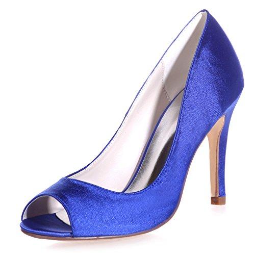 35 da in 42 Raso Toe Sposa Evening Heel 9 Peep Donna Prom da Elobaby Kitten Size Blue Toe Scarpe xnqAgwXSnO