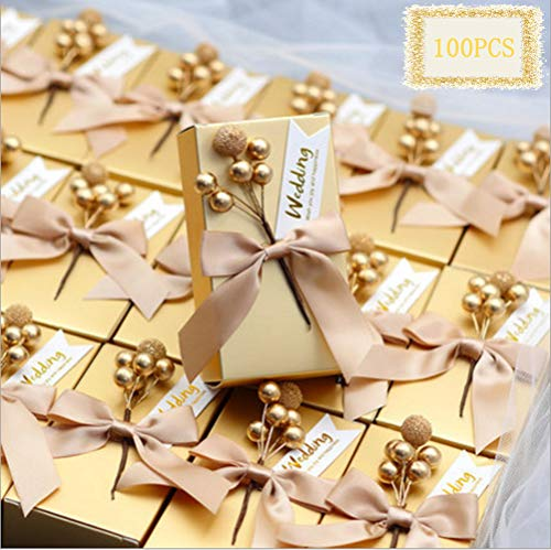 100pcs Gold Favor Boxes with Wedding Tag and Ribbon, Rectangle Wedding Candy Box for Bridal Shower Wedding Party Supplies (Gold)