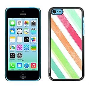 Paccase / SLIM PC / Aliminium Casa Carcasa Funda Case Cover para - Stripes Watercolor Crayon Pastel - Apple Iphone 5C