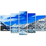 alaska painting - 5 Pieces Modern Canvas Painting Wall Art The Picture For Home Decoration Beautiful Panoramic John Hopkins Glacier Bay National Park Alaska Landscape Jokul Print On Canvas Giclee Artwork For Wall Decor