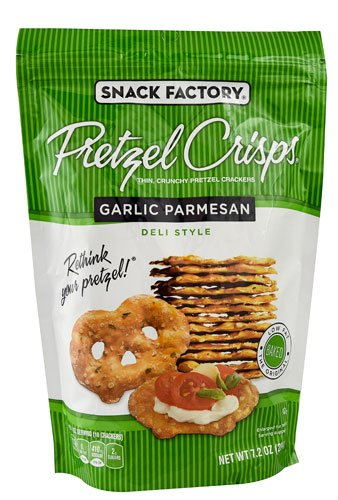 Snack Factory Pretzel Crisps Deli Style Garlic Parmesan -- 7.2 oz - 2 pc