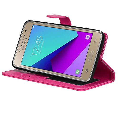 Laybomo Schuzhülle Samsung Galaxy J2 Prime / G532F Hülle Ledertasche Weiches Silikon TPU Beutel Schützend Stehen Bilderrahmen Brieftasche Schale Tasche Handyhülle für Samsung Galaxy J2 Prime (Schwarz) Rosa Ykso5ES