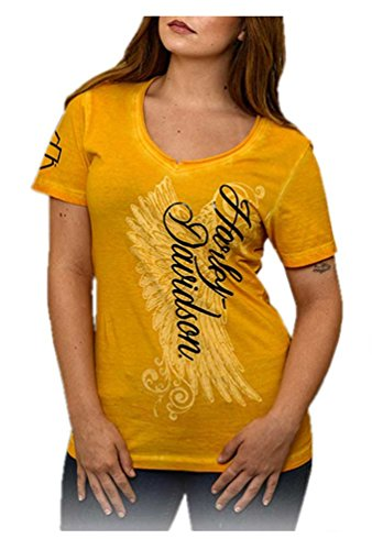 Diva Short Sleeve T-shirt (Harley-Davidson Women's Road Diva Notched V-Neck Short Sleeve Tee, Yellow (M))