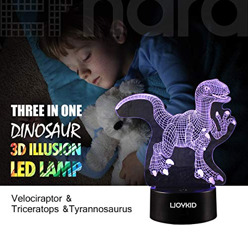 3D Dinosaur Night Light – 3D Illusion Lamp Three Pattern and 7 Color Change Decor Lamp with Remote Control for Kids…
