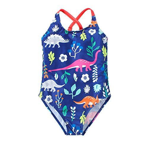 Hongshilian Little Girls Cartoon Beach Sport Swimwear One Piece Baby Swimsuit(Dinosaur & Blue,XL)]()